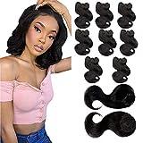 Body Wave Human Hair Bundles with Closure 8 Weave Bundles with Top Closure Brazilian Virgin Hair Extensions Short Wave Bob Hair Bundles Natural Black 8Inch (8 8 8 8 8 8 8 8+8')