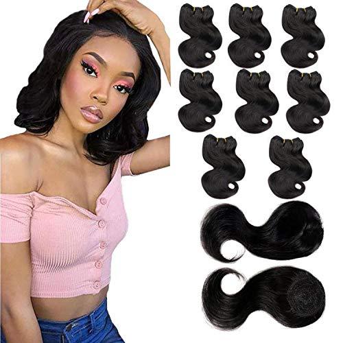 Body Wave Human Hair Bundles with Closure 8 Weave Bundles with Top Closure Brazilian Virgin Hair Extensions Short Wave Bob Hair Bundles Natural Black 8Inch (8 8 8 8 8 8 8 8+8