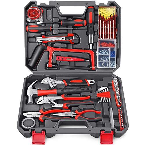 Arrinew Kit de herramientas 108 piezas DIY General Hogar Herramientas Kit de Mano con Caja de Herramientas de Plástico Caja de Almacenamiento para Reparación y Mantenimiento Diario