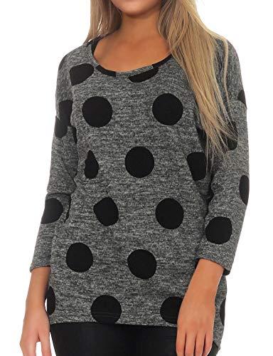 ONLY NOS Damen Pullover Onlelcos 4/5 Aop Top Jrs Noos, Mehrfarbig (Dark Grey Melange Aop:Black Dots Aw18), 34 (Herstellergröße: XS)
