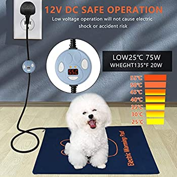 Tapis chauffant électrique pour animal domestique - Étanche - Réglable - Avec cordon en acier résistant aux mâchons.