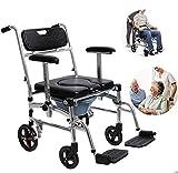 Silla de ruedas de función múltiple, fácil de transportar con silla de ruedas Potty Bucket, Scooter manual para personas mayores con discapacidad adecuado para caminar, sillas de ruedas para turismo