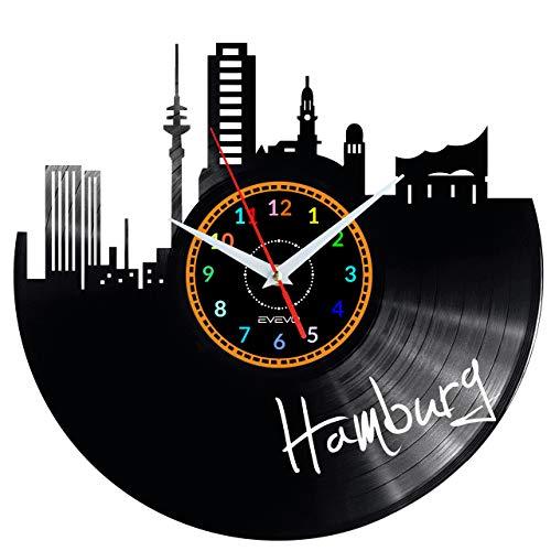 EVEVO Hamburg Wanduhr Vinyl Schallplatte Retro-Uhr groß Uhren Style Raum Home Dekorationen Tolles Geschenk Wanduhr Hamburg