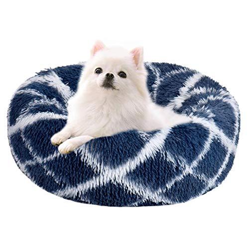 Wuudi, cuccia per cani, cuccia per gatti, 50 cm, rotonda, per cani e gatti, cuccia per cani di piccola taglia (blu marino)