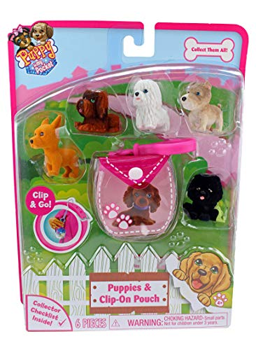 Puppy In My Pocket 6 Pink Clip-On Pouch and 5 Cute Puppies