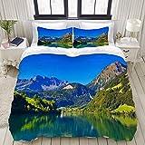 Copripiumino, montagne delle Alpi svizzere e foresta di prati con lago tranquillo anche piccolo villaggio antico, set di biancheria da letto Set di copripiumini in poliestere ultra comodi e leggeri (3