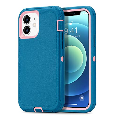 Dutyway Defender Protective Case Compatible with iPhone 12 Mini, Heavy Duty Full Body Protection 3 in 1 Rugged Shockproof Drop-Proof 3-Layer Cover 5.4 inch, Lake Blue/Pink