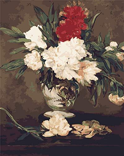 Vanzelu Natura taart met bloemen om zelf te maken, motief: Schilderij By cijfers schilderijen op canvas 40x60cm Geen frame.