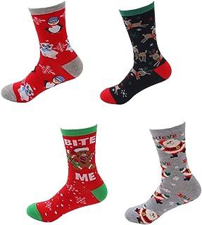 iMixCity, 3/4/5 pares de calcetines de Navidad para mujer, calcetines de Navidad, cálidos, calcetines de invierno, bonitos dibujos animados, de algodón, para unisex 4 pares. Talla única