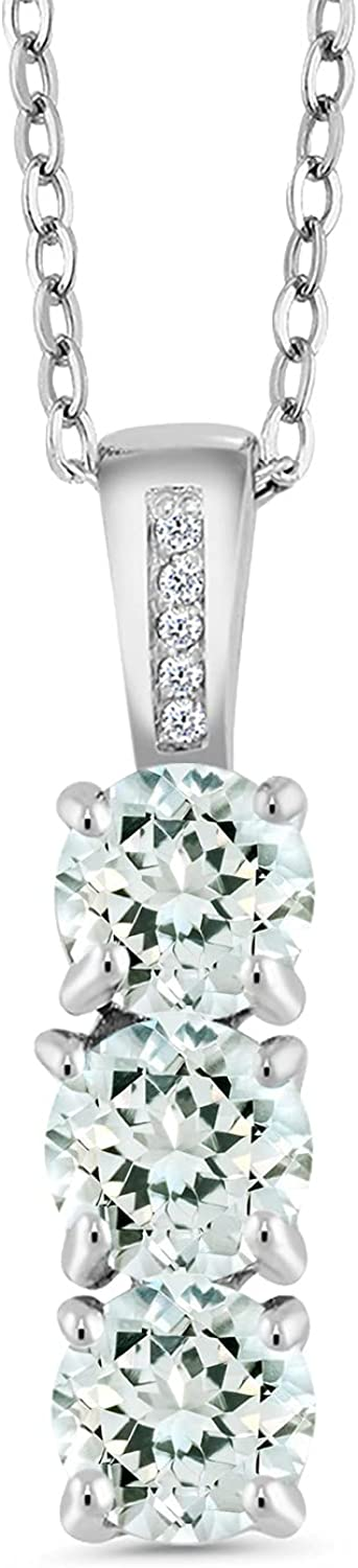Gem Stone King 925 Cheap sale Now on sale Sterling Silver Sky and Blue Aquamarine Diamo