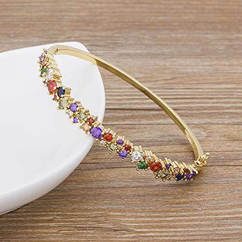 SONGK Pulseras de circón de Cobre brazaletes para Mujeres mamá Brazalete de Marca de Lujo Encanto Fiesta joyería Regalo