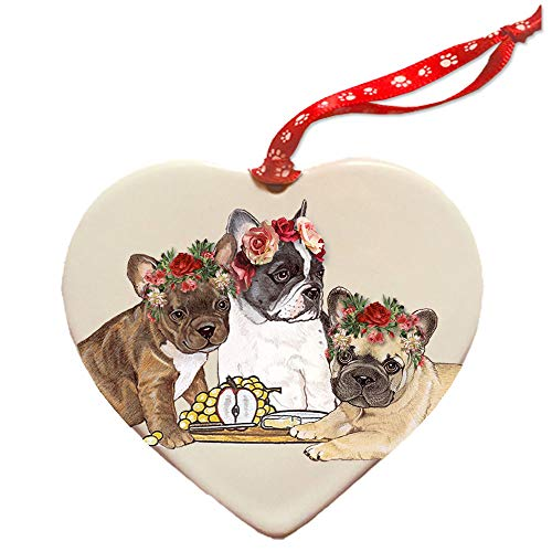 Pipsqueak Productions French Bulldog Frenchie Dog Porcelain Valentine's Day Heart Ornament Pet Gift