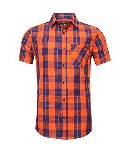 NUTEXROL Camicie da Uomo Camicie Camicie a Quadri, Casual, Comode e Moderne per L'Estate, Maniche Corte, Arancione e Blu (Maglia Sottile), S