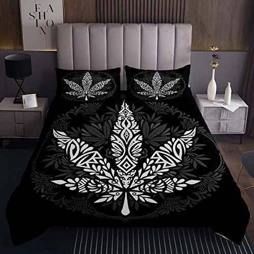 Colcha de hojas de marihuana, bohemia, mandala, para hombres y adultos, hojas de marihuana, juego de colcha bohemio, cubrecama, colección de 3 piezas, tamaño king, color negro