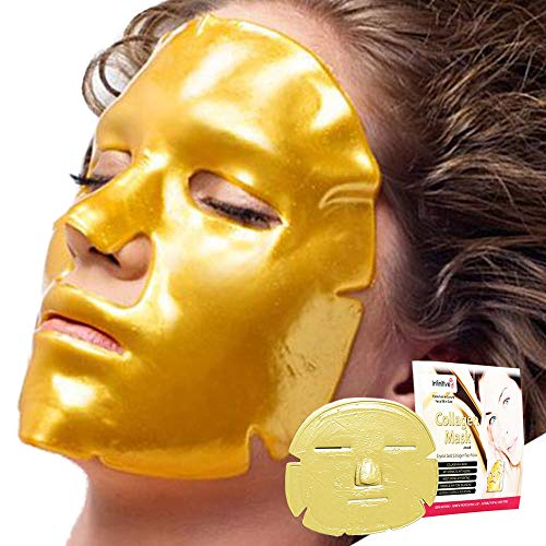 10 x New Crystal 24K Gold Powder Gel Collagen Face Mask Masks Sheet Patch, Anti Ageing Aging, Skincare, Anti Wrinkle, Moisturising, Moisture, Hydrating, Uplifting, Whitening, Remove Blemishes & Blackheads Product. Firmer, Smoother, Tone, Regeneration Of Skin. Suitable For Home Use Hot or Cold