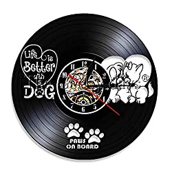 1Piece Life is Better with A Dog Silhouette Handmade Birthday Gift Vintage Vinyl Clock Housewarming Gift for Dog Lovers