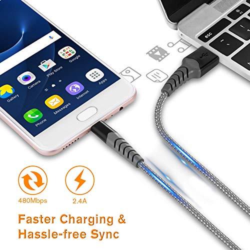 Micro USB Kabel 2M/2-Stück 2,4A USB Ladekabel Datenkabel mit Nylon Geflochtenes für Android Handy Samsung S7/S6, Huawei P8 Lite/P9 Lite, Sony, Nokia, HTC, Nexus, Blackberry, PS4 Controller und mehr