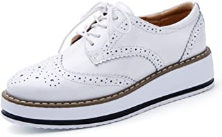 Women's Platform Brogue Oxfords Lace Up Perforated Round Toe Casual Vintage Wingtip Dress Shoes