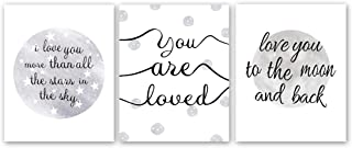 """HPNIUB Inspirational Quotes Art Print Set of 3 (8""""X10"""") Romantic Couples Love Poster Abstract Moon Stars Saying Minimalist Canvas Wall Decor for Lovers Bedroom Valentine's Day, No Frame"""
