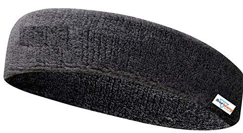 HeadTurners Workout Headband for Women & Men - Moisture Wicking & Non-Slip Exercise Hairband or Sports Sweatband -Ideal for All Sports Like Tennis, TT, Badminton, Running and Yoga- (Black, 1 Pc)