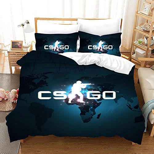 Duvet Cover Set -Dark Blue Cs Terrorist - 3 Pieces Printed Bedding Quilt Cover with Zipper Closure Students for Bedding Decor, Ultra Soft Microfiber Comes with 2 Pillowcases 94.5 X 86.7 inch