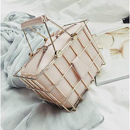 PCBDFQ Damestas Mode Ontwerper Vrouwen Handtassen PU Lederen Vrouwen tas Ijzer Mand Vierkante tas Ketting Schouder Messenger Bag