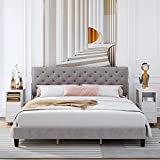 King Bed Frame, Upholstered Platform Bed Frame with Adjustable Headboard, Button...