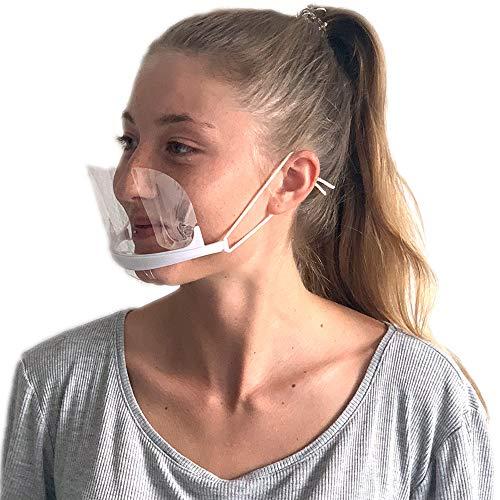 DECADE® 10 Stück Safety XL Premium mehrteiliges Gesichtsschutzschild Kunststoff Visier austauschbar Gesichtsschutz Anti-Öl Schutzvisier Essen Hygiene Mundvisier Mouthshield Mini Mund Nase Visier