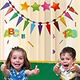 Faburo 42Pcs Schuleinführung Einschulung Deko Set Schule Bunte Zuckertüte Einschulung ABC 123 Buchstaben Sterne Aufkleber für Kinder Schulanfang Dekoration - 4