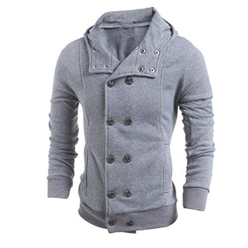 OSYARD Männer Mode Bluse Herbst Winter Kapuzenpullover Herren Tops Sweatshirt mit Knopfleiste Hoodie,Langarm Kapuzenjacke mit Kapuze Mantel Outwear