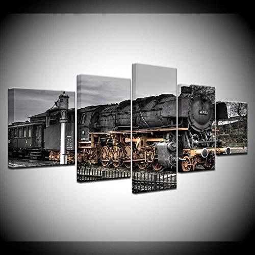 KSFBHC 5 Piezas Cuadro Lienzo 5 Piezas Impresiones En Lienzo Retro Steam Locomotive Train Depot Cuadros Decoracion Salon Cuadros Decoracion Dormitorios Cuadros Abstractos Modernos 150x80cm