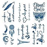 Leoars Realistic Tiny Temporary Tattoos, 6-Sheet 2 Weeks Long Last Waterproof Eglish Tattoos, 100% Plant-Based Ink Infinity Tattoos Sticker for Adult Temporary Tattoos