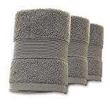 "3 Piece Premium Hand Towels 100% Cotton 13.7""x30"" 700 GSM, Home Bathroom, Kitchen Hotel Spa (Gray)"