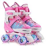 Gonex Patins à roulettes Réglables,Roller Quad Respirant et Confortable avec Roues Allumées pour Débutants Filles Femmes Enfants
