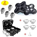 Ice Cube Mold, Silicone 3D Skull Ice Cube Mold and Diamond Ice Cube Tray Maker with Funnel for Drinks, Whiskey, Cocktails, Beverage, Beer, Juice, BPA Free, Easily Release – 2 Sets