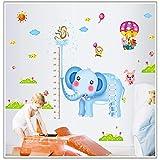 GVC 2pcs / Set DIY Etiqueta de la Pared Decoración para el hogar Jirafa Oso de Peluche Elefante Altura Pegatinas Niños Habitación Vivero Quarto Conjunto Infantil