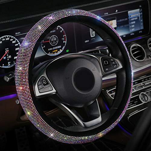 AMPLELIFE Diamant-Leder-Lenkrad-Abdeckung Mit Bling Bling Kristallrhinestones, [2020] Anti-Rutsch-Felgenschutzring, Universal Fit 15 Zoll Auto-Rad-Schutz Nette Autozubehör (Farbe)
