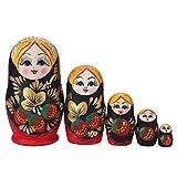 Spielzeug-Holzpuppe, Nesting Handbemalung, 5 Schichten, Lucky Strawberry Girl, klassische Puppe, Heimdekoration, Kindergeschenke (Farbe: 5 Stück)
