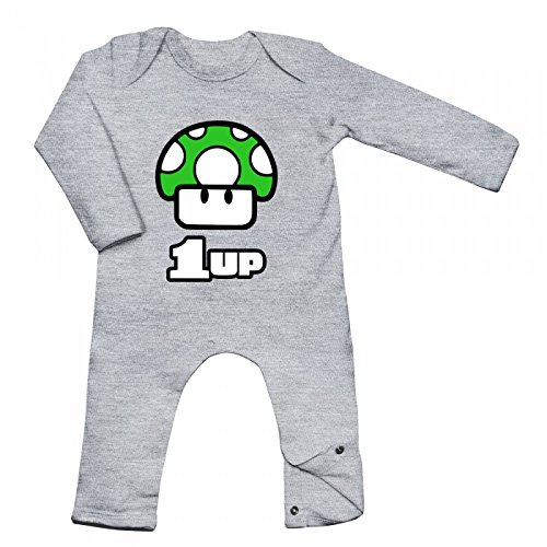 Shirt Happenz Game Level Up Babybody | Game | Levelup | 1up | Langarm | Langärmliger Strampler, Farbe:Graumeliert (Heather Grey Melange BZ13);Größe:3-6 Monate