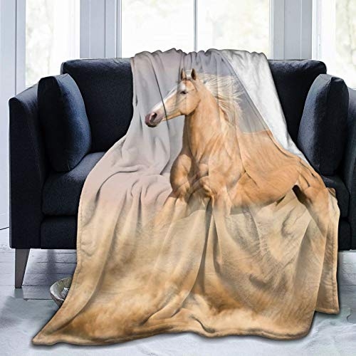 QINCO Throw Blanket Soft Warm,Palomino Horse Sand Desert With Long Blond Male Hair Tail Power Wild Animal,Microfiber All Season Living Room/Bedroom/Sofa Couch Bed Flannel Quilt,60' x 80'