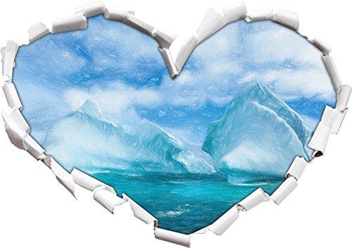 Schnee und Eis der Antarktis Inseln Kunst Buntstift Effekt Herzform im 3D-Look , Wand- oder Türaufkleber Format: 62x43.5cm, Wandsticker, Wandtattoo, Wanddekoration