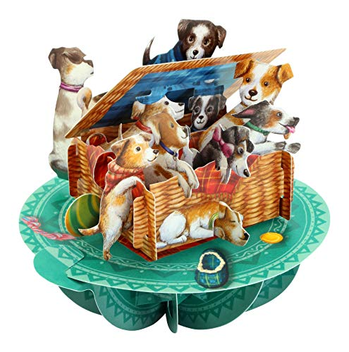 Puppies in A Basket Pirouette - Santoro 3D Pop-Up Greeting & Birthday Card for Her
