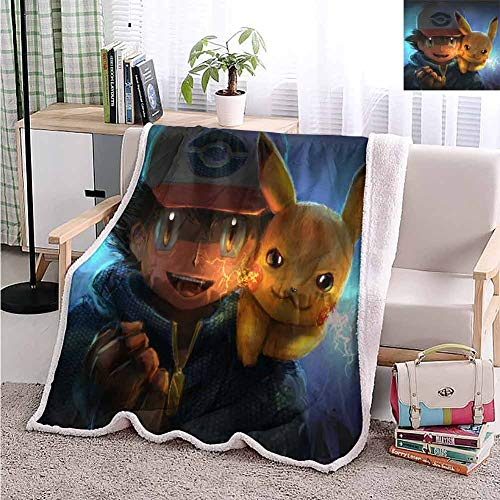 Yloveme Baby Small Fleece Blanket Throw ash and Pikachu Artwork Double-Sided Super Soft Plush Blanket Throw 32x60 inches