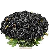 Veryhome - Ramo de flores artificiales de seda para boda, decoración floral para el hogar, jardín, fiesta, 10 unidades (capullo de rosa), color negro