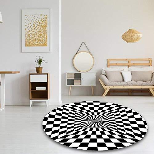 earlyad 3D geometrische optische Täuschung Rutschfester Teppich, langlebige rutschfeste Tür Bodenmatte schwarz und weiß Karierten Teppich Teppich für Wohnzimmer Schlafzimmer Home Decoration