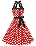 Dressystar Vintage Polka Dot Retro Cocktail Prom Dresses 50's 60's Rockabilly Bandage Red White Dot L