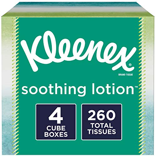 Kleenex Soothing Lotion Facial Tissues, 4 Cube Boxes, 65 Tissues per Box (260 Tissues Total)