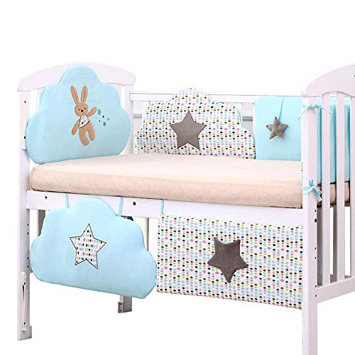 Coussin de pare-chocs pour lit de bébé, collection coton, pour berceaux standard, doublure rembourrée et rembourrée, lavable à la machine, pour bébés garçons