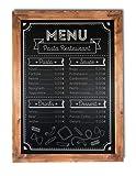 Pizarra negra marco madera rustica. Apta para tizas y rotuladores efecto tiza. Pizarra enmarcada en madera natural color nogal vintage. Ideal para decoración, hostelería, cocina, bares. (150 x 100 cm)