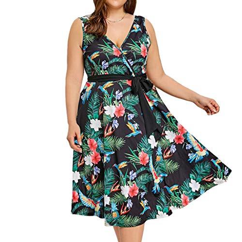 OPAKY Vestido Corto Mujer Boho Moda Mujer Casual Plus Size...
